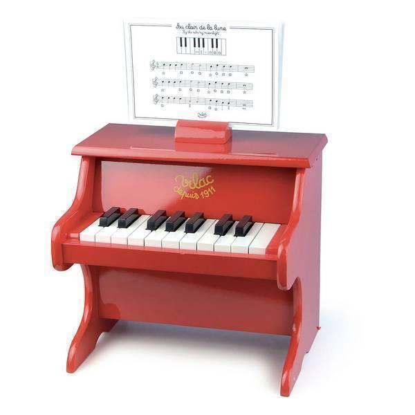 Vilac - Piano rouge 18 touches avec partitions - Dès 3 ans