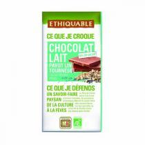 Ethiquable - Tablette Tablette chocolat  lait 42% tournesol, lin, pavot Pérou 100g