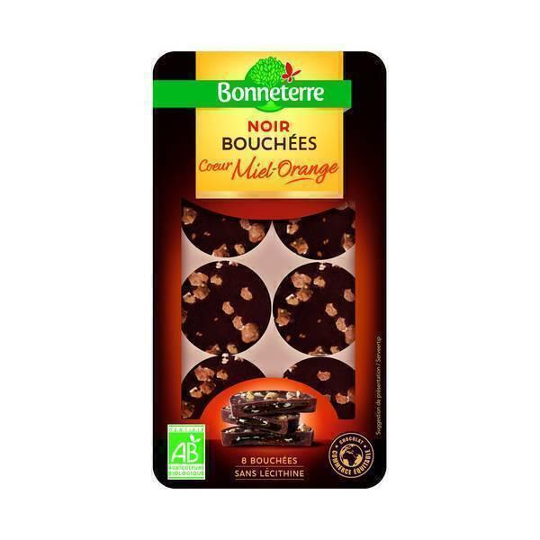 Bonneterre - Bouchées chocolat coeur Miel-orange 75g