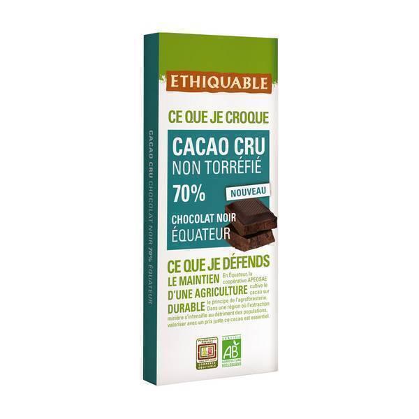Ethiquable - Tablette chocolat noir 70% cacao cru Equateur 80g