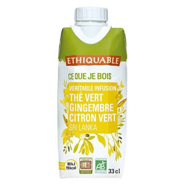 Ethiquable - Thé vert glacé Gingembre-citron vert 33 cl