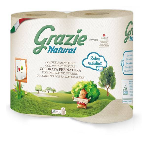 Grazie Natural - Pack 2 x 2 rouleaux essuie-tout compact