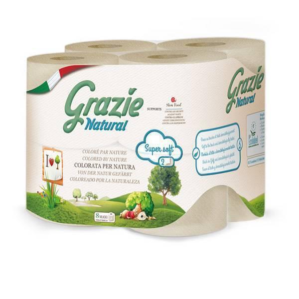 Grazie Natural - Pack 2 x 8 rouleaux de papier toilette compact