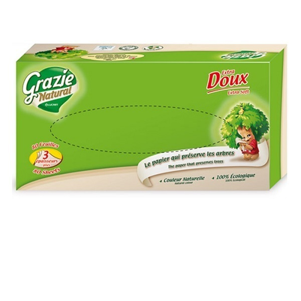 Grazie Natural - Pack 4 Boîtes mouchoirs 80 feuilles 3 plis