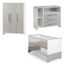 Schardt - Chambre Eco Silver 3 pièces –Lit, commode et armoire 3 portes