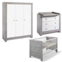Schardt - Chambre Nordic Driftwood 3 pcs - Lit commode & armoire 3 portes