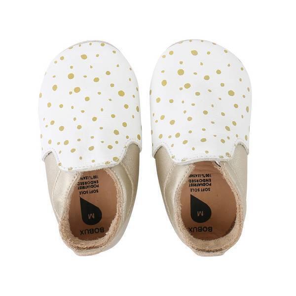 Bobux - Chaussons Soft Sole Loafer pois doré - De 3 à 21 mois