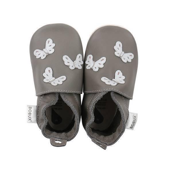 Bobux - Chaussons Soft Sole Papillon gris - De 3 à 27 mois
