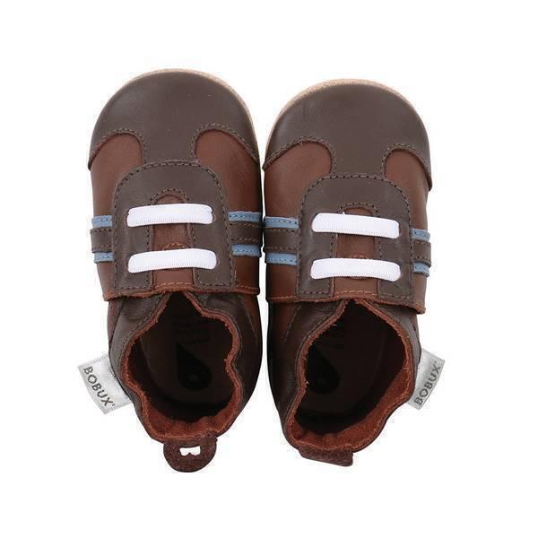Bobux - Chaussons Soft Sole Sport brun/bleu - De 3 à 21 mois