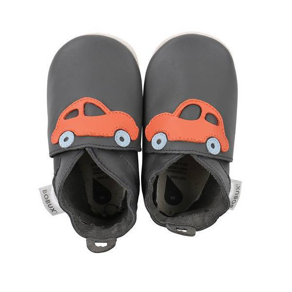 Bobux - Chaussons Soft Sole Voiture gris/orange- De 3 à 21 mois