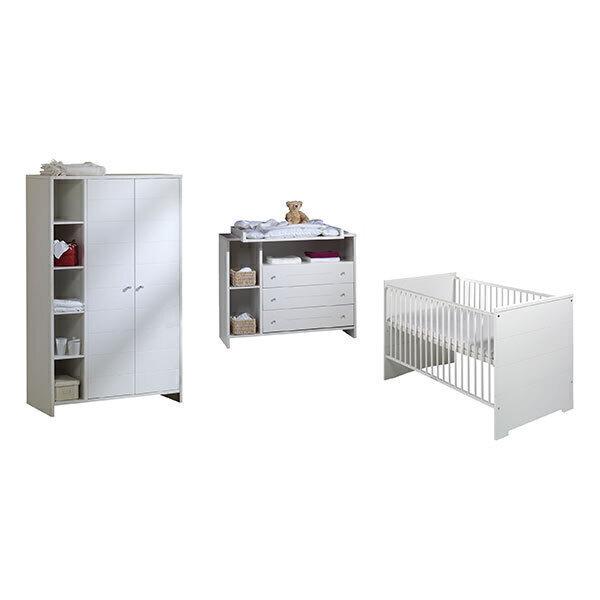 Schardt - Chambre Eco Stripe 3 pièces – Lit, commode et armoire 2 portes