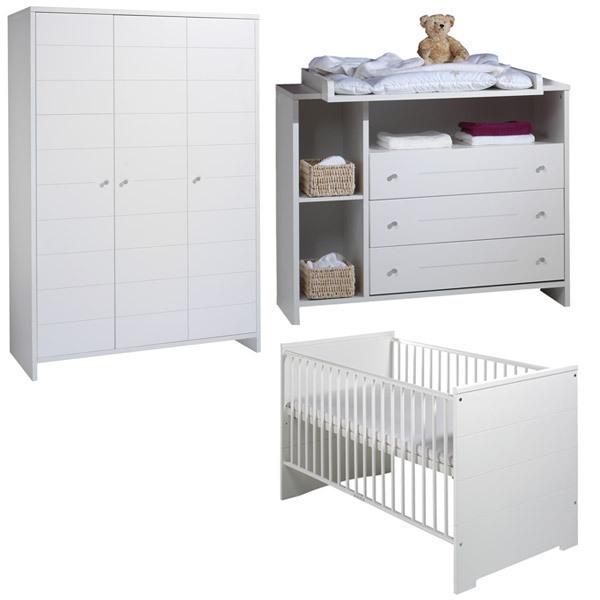Schardt - Chambre Eco Stripe 3 pièces – Lit, commode et armoire 3 portes