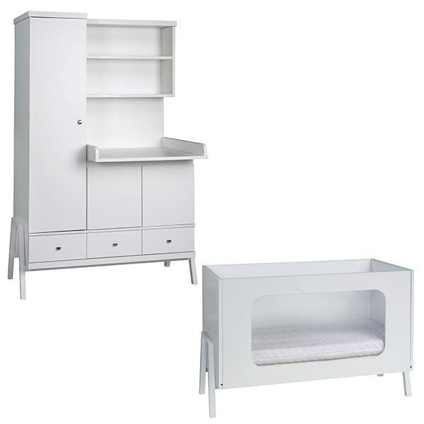 Schardt - Chambre Holly blanc 2 pièces – Lit bébé et armoire à lange