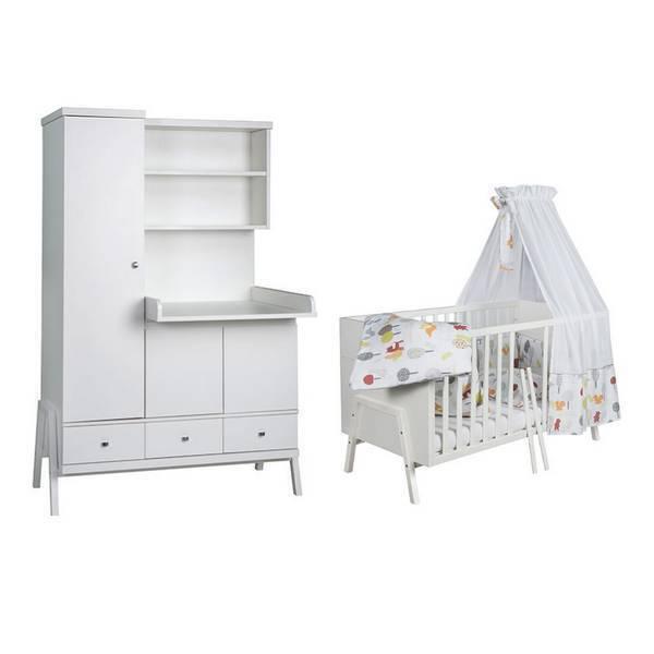 Schardt - Chambre Holly blanc 2 pièces – Lit évolutif et armoire à langer