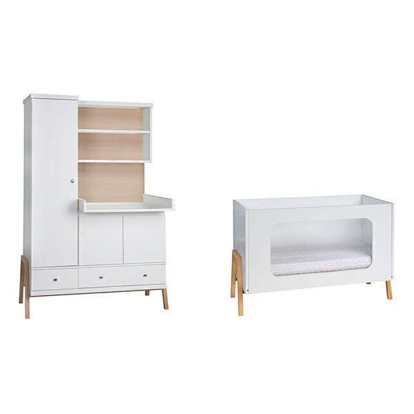 Schardt - Chambre Holly Nature 2 pièces – Lit bébé et armoire à langer