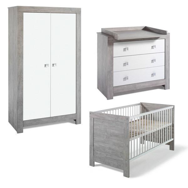 Schardt - Chambre Nordic Driftwood 3 pcs - Lit commode & armoire 2 portes