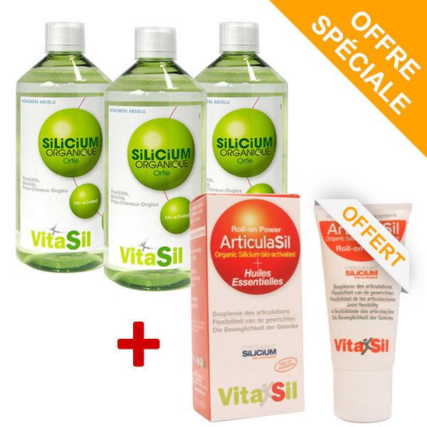 Vitasil - Pack de 3 Silicium Organique Bio-Activé Tripack & Roll'on OFFERT