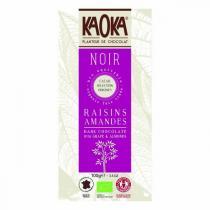 Kaoka - Tablette chocolat noir Raisins amandes 66% 100g