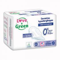 Love & Green - Pack 3x10 Serviettes nuit hypoallergéniques 0%