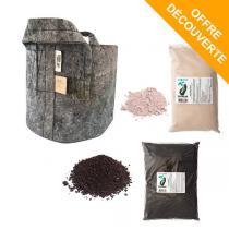 Terralba - Pack découverte Jardinage organique pot 16L gris et substrats
