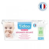 Tidoo - 50 Bâtonnets de Sécurité Bébé en Coton bio