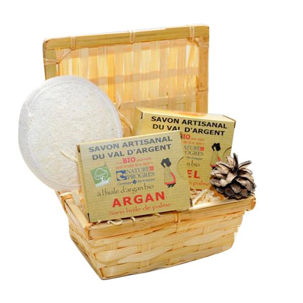 Argasol - Coffret Argasol savons miel et argan avec loofah