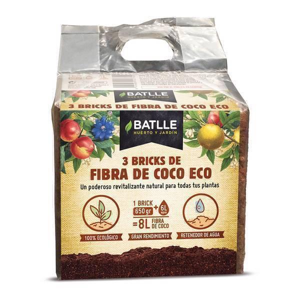 Batlle - Lot de 3 briques de fibre de coco déshydratée 650g
