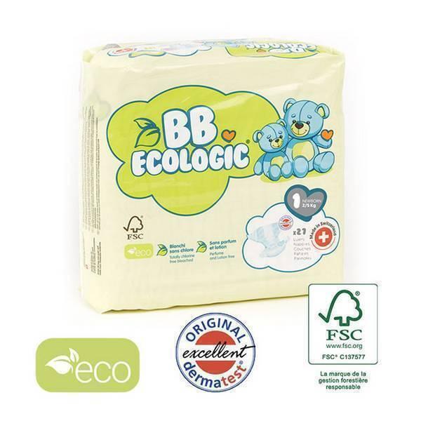BB Ecologic - Lot 8x27 Couches jetables écologiques Midi - T1, 2-5kg