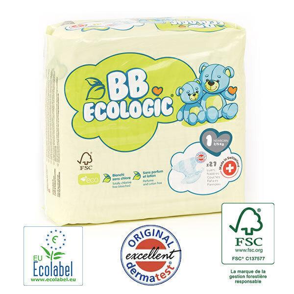 BB Ecologic - Lot 4x27 Couches jetables écologiques Midi - T1, 2-5kg