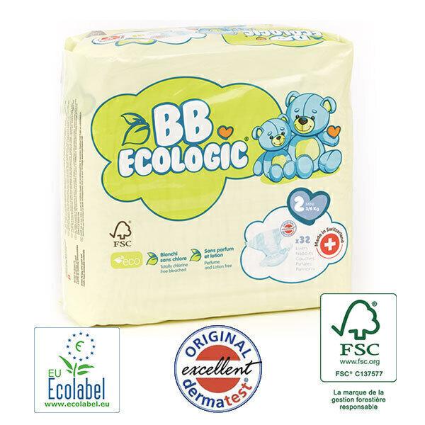 BB Ecologic - Pack 4x32 Couches jetables écologiques Midi - T2, 3-6kg