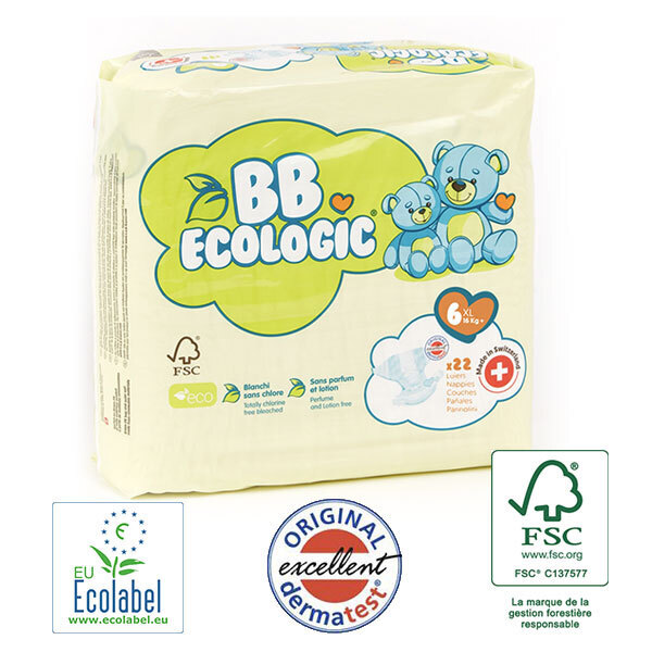 BB Ecologic - Pack 8x22 Couches jetables écologiques Junior - T6, 16kg