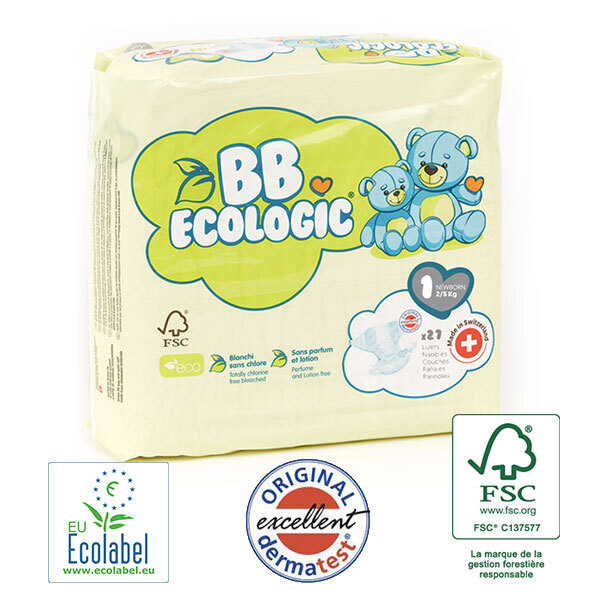 BB Ecologic - Pack 8x27 Couches jetables écologiques Midi - T1, 2-5kg