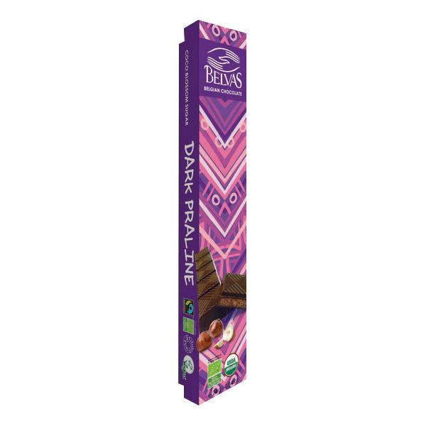 Belvas - Barre chocolat noir fourrée praliné 24g