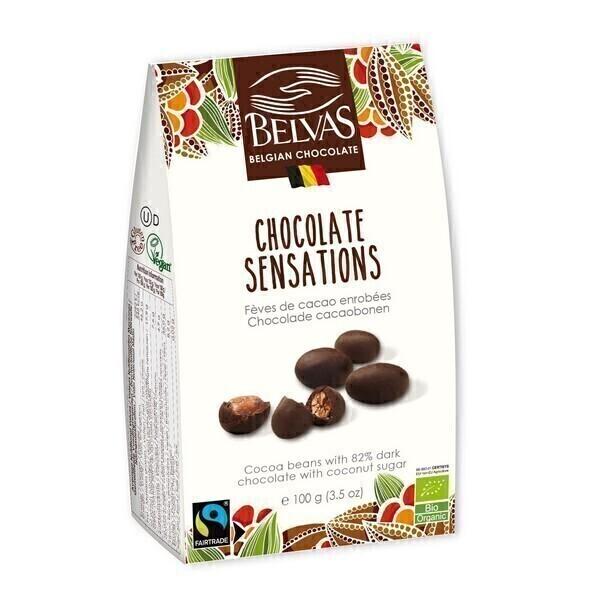 Belvas - Fèves de cacao enrobées de chocolat noir 100g
