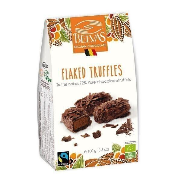 Belvas - Truffes noires 72% et copeaux de cacao 100g