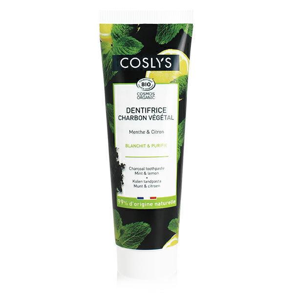 Coslys - Dentifrice charbon végétal menthe & citron 100g