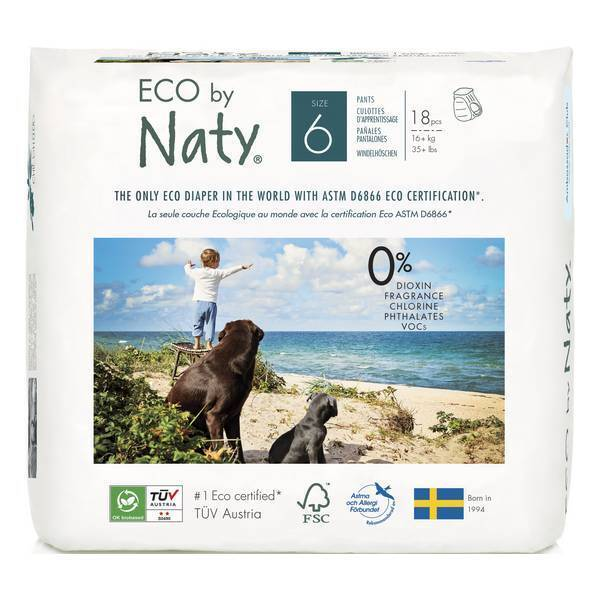 Eco by Naty - 18 Culottes apprentissage Jetables T6 + 16 kg