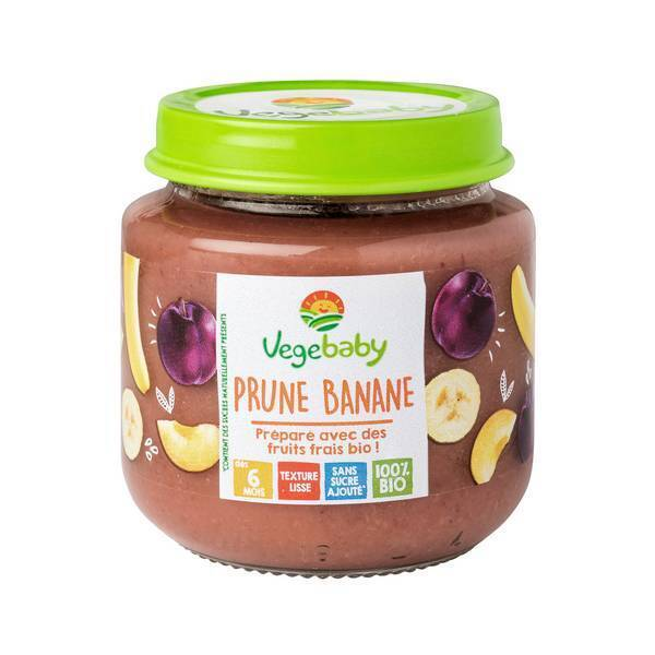 Vegebaby - Pot Banane-Prune bio bébé 120g