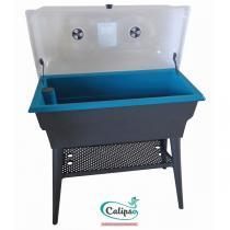 Calipso - Jardinière Combi double paroi 40L Gris et Turquoise