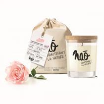 Naõ - Bougie parfumée Bio verre sérigraphié Rose 200g