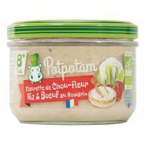 Potpotam - Petit pot fleurette de chou-fleur, riz & boeuf au romarin 180g
