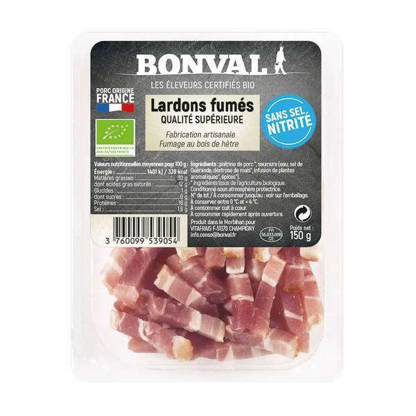 Bonval - Lardons fumés sans sel nitrité 150g