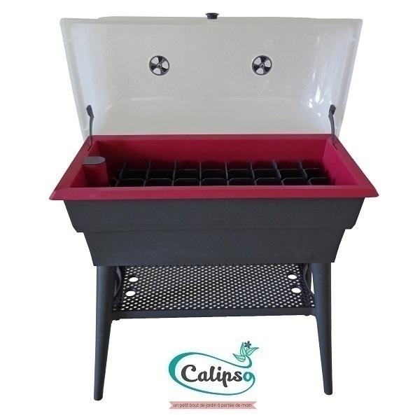 Calipso - Jardinière Combi double paroi 40L Gris et Framboise