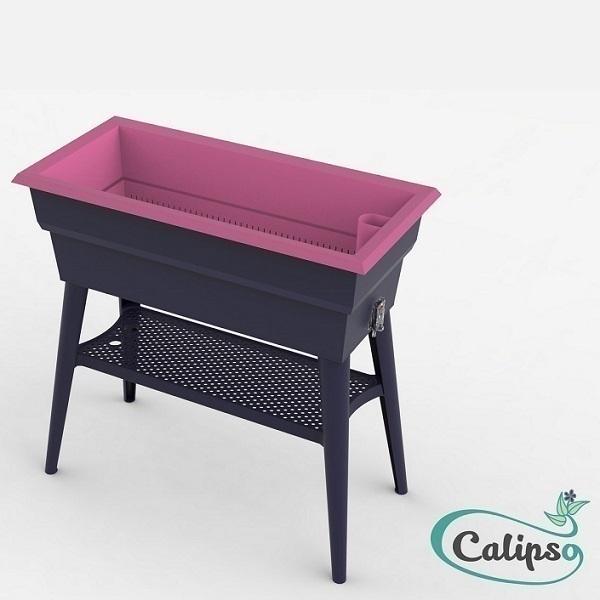 Calipso - Jardinière Maxi double paroi 40L Gris et Framboise