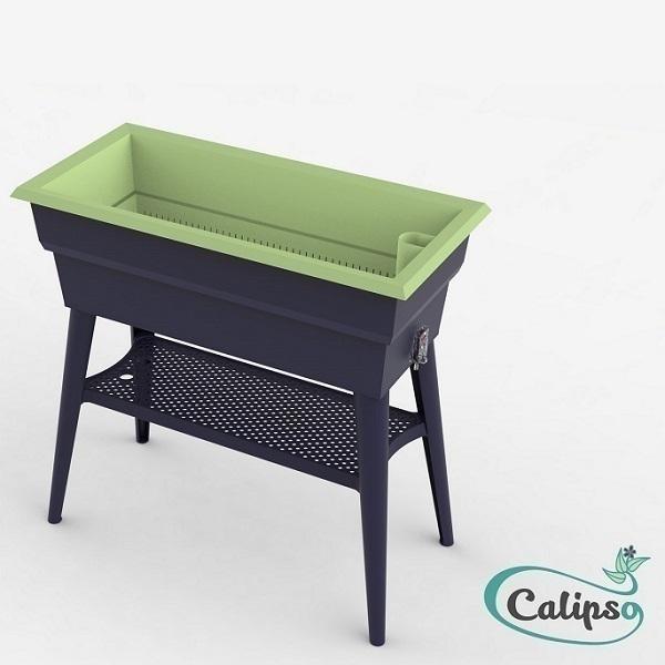 Calipso - Jardinière Maxi double paroi 40L Gris et Tilleul