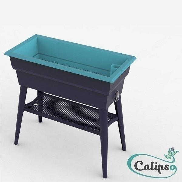Calipso - Jardinière Maxi double paroi 40L Gris et Turquoise
