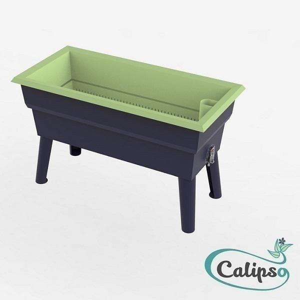 Calipso - Jardinière Mini double paroi 40L Gris et Tilleul