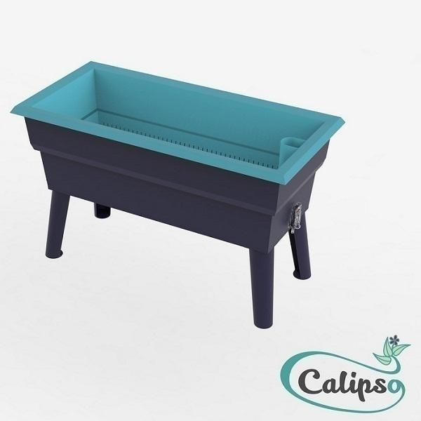 Calipso - Jardinière Mini double paroi 40L Gris et Turquoise