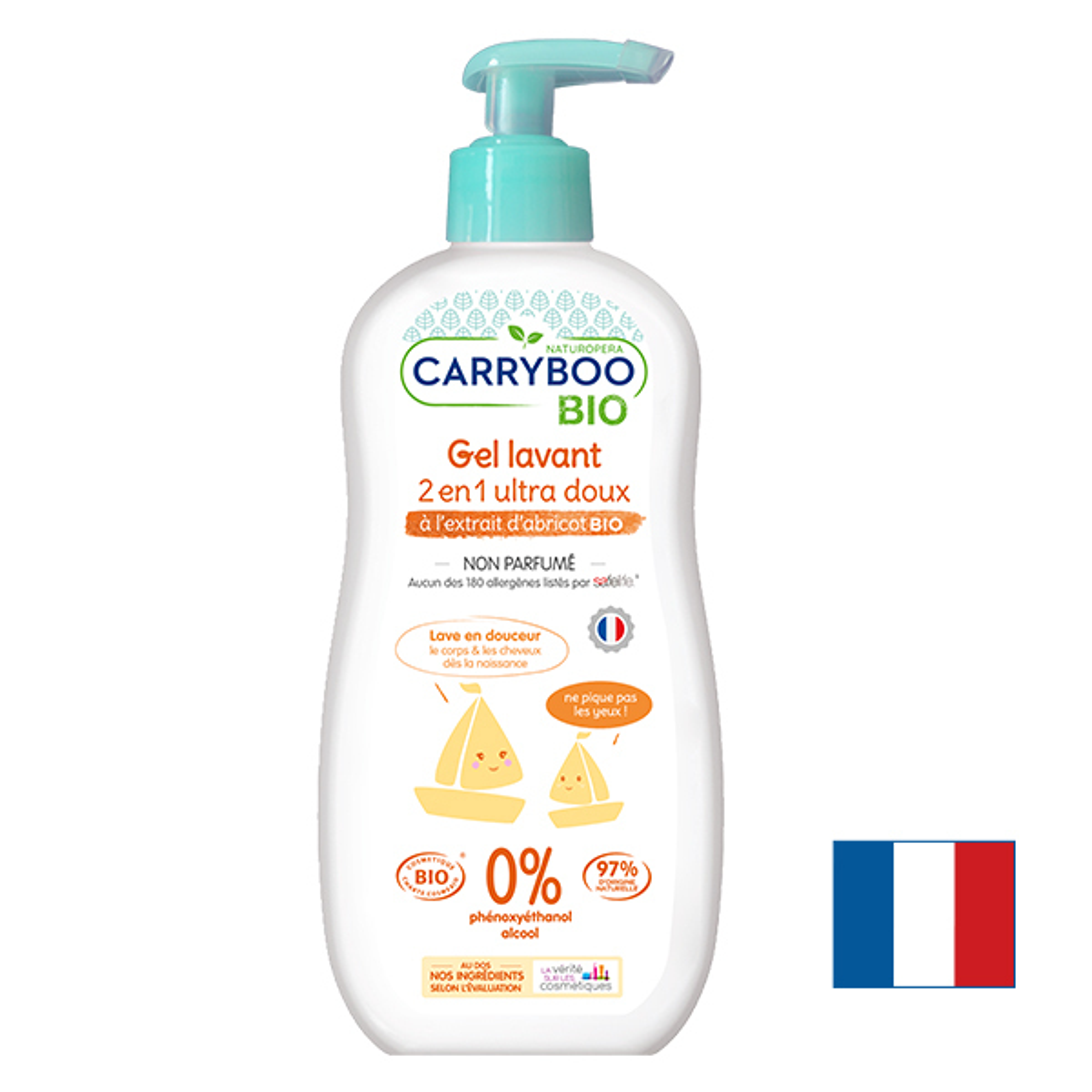 Carryboo - Gel Lavant 2en1 BIO (500ml) Ultra Doux Sans Parfum