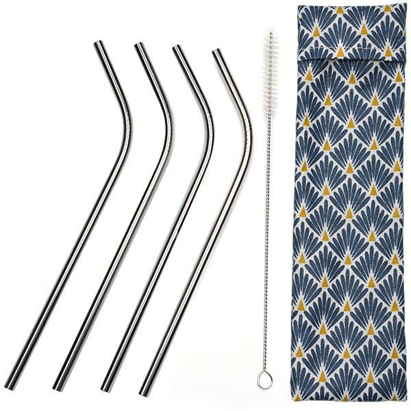 Greenweez - Lot de 4 pailles coudées Inox avec pochette et goupillon